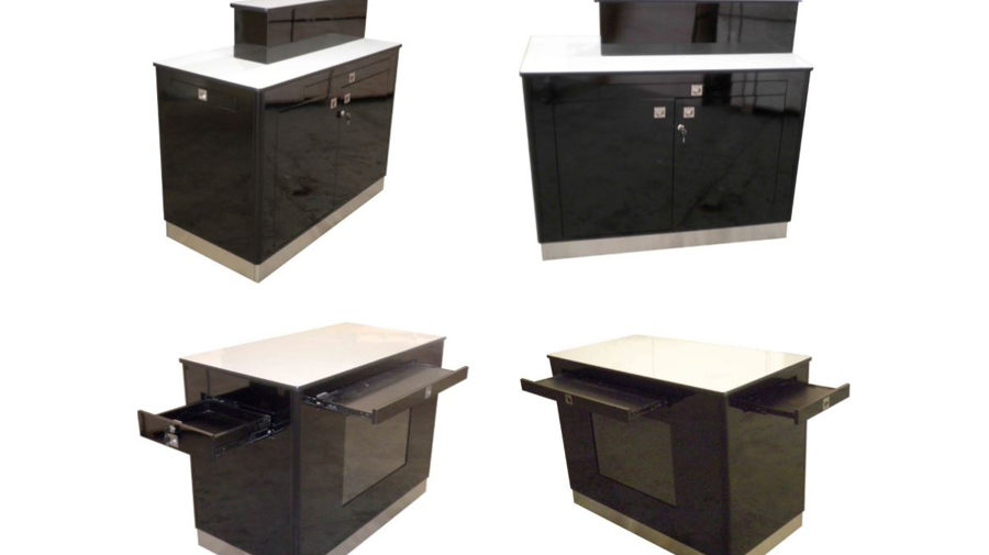 MMU-1 1200mm long x 600mm wide x 900mm high. 1 x riser ( fits into unit for storage). 2 x lockable doors with one adjustable shelf. 1 x lockable drawer in one end. 3 pull-out shelves , 1 on each long side and 1 on end of unit to give more display area on the unit. Heavy duty casters fitted to the bottom of the unit. All sides of the unit will be completely laminated. All top surfaces will be laminated. Rubber T-Mould fitted to it to protect edge. Stainless steel kick. Kick to have 1 flap at one end to access casters to lock them in position. 1 x recessed A2 poster holder. Each corner of the unit will be protected by powder coated aluminium