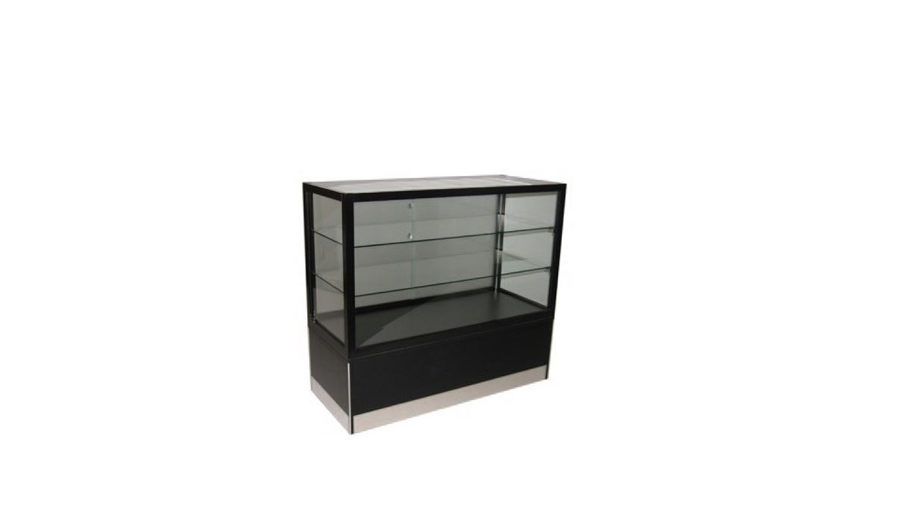 PSC1- Glass Showcase. Glass showcase with lockable storage and display. Internal LED lighting. Stainless steel kicker. Lockable castor wheels to base. Sliding doors to rear. 950H x 1200W x 450