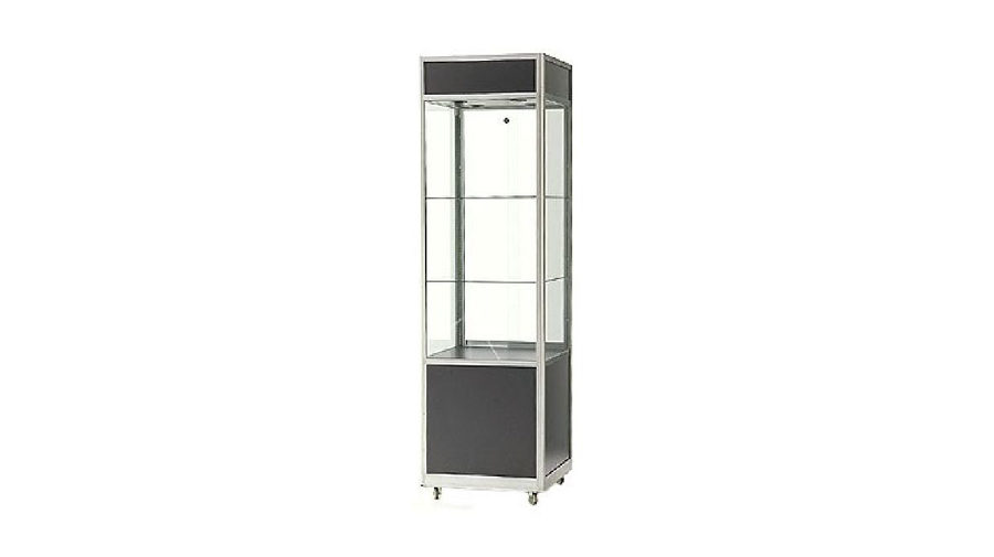 PSC2- Glass Showcase. Glass showcase with lockable storage and display. Internal LED lighting. Lockable castor wheels to base. Sliding doors to rear. 2000H x 600W x 600D