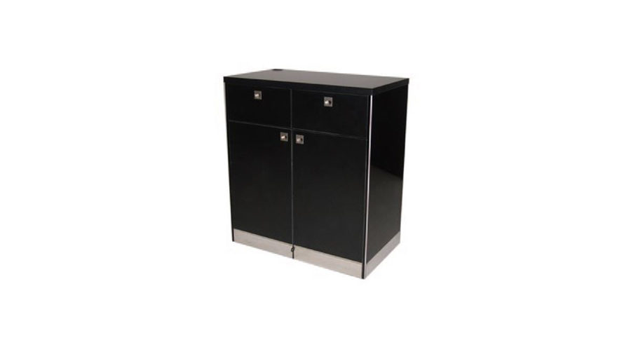 SCC + W – Cash and Wrap. Cash and Wrap in all black to match showcase units. Stainless steel kicker. Lockable castor wheels to base. Two drawers and lockable storage