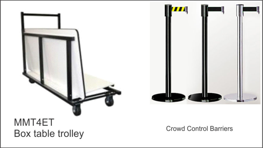 MMT4ET Box table trolley. Holds six tables. Black powder coated steel frame. Lockable castor wheels to base. Crowd Control Barriers