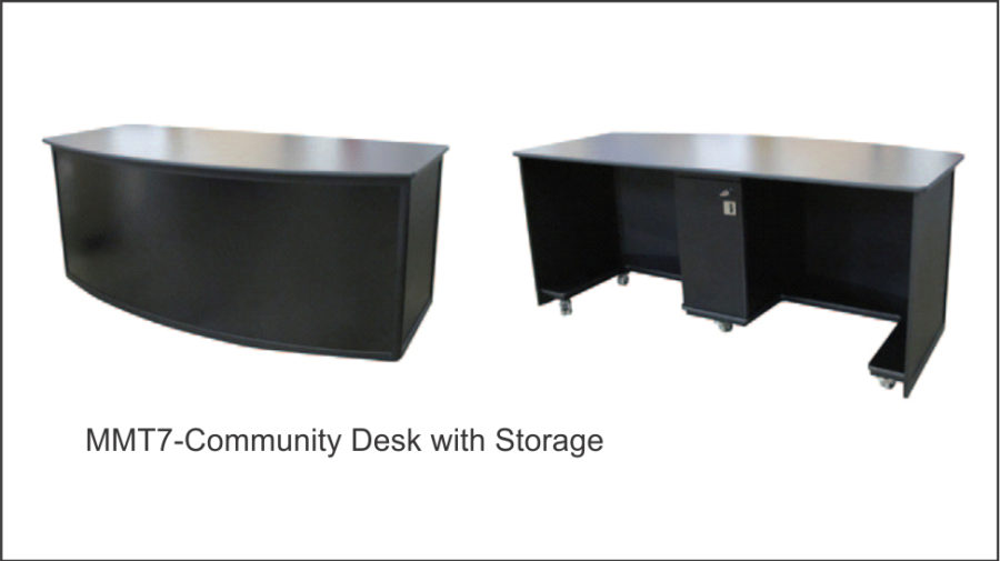 MMT7 COMMUNITY DESK WITH STORAGE Anodised aluminium external frame. Allows for two people to sit behind. Square hollow section steel base frame mounted to six lockable heavy duty castors. 16mm black melamine top with a protective PVC T-Mould to all edges. The front and end panels are black vinyl covered. Colour bond metal front for magnetic client graphics