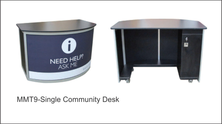MMT9 Single Community Desk. Allows for one person to sit behind desk. Lightweight clear anodised aluminium frame. Lockable storage cabinet to rear of desk. • Black vinyl finish to end panels. 16mm melamine top with PVC T-mould edges. Shown with Colourbond front panel and clients magnetic graphics.