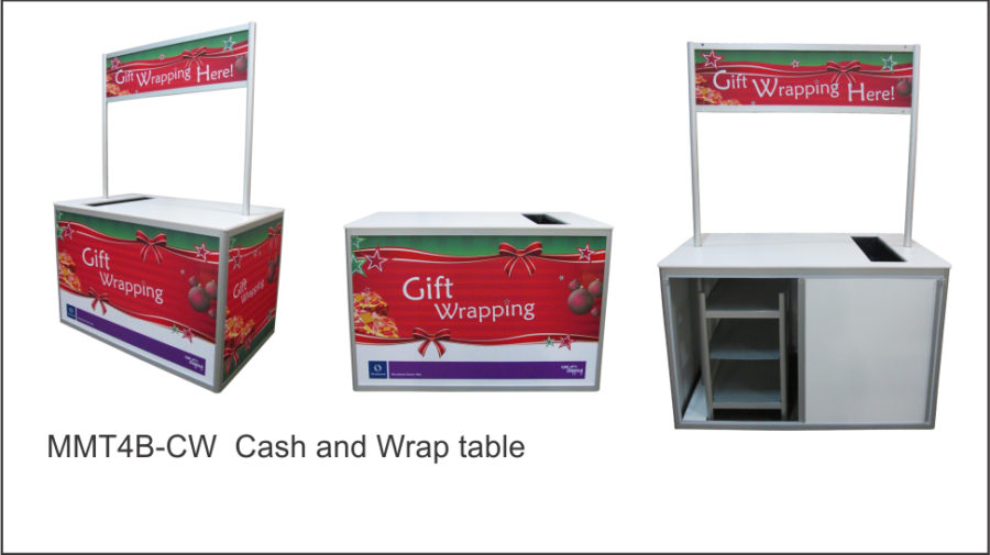 MMT4B- CW Cash and Wrap table. Full aluminium frame. Folds flat for storage. Paper roll compartment to bench top. Storage to base with padlock facility. Changeable graphic area to front and ends. • Gift wrapping table dimensions: 1460mmW X 900mmD x 960mmH