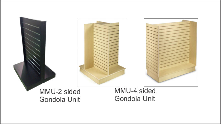 MMU - 2 sided Gondola unit. Comes with eight shelves with hang facility. Lockable castors to base. Wide range of wood grains and colours. MMU - 4 sided Gondola unit. Comes with eight shelves with hang facility. Lockable castors to base. Wide range of wood grains and colours