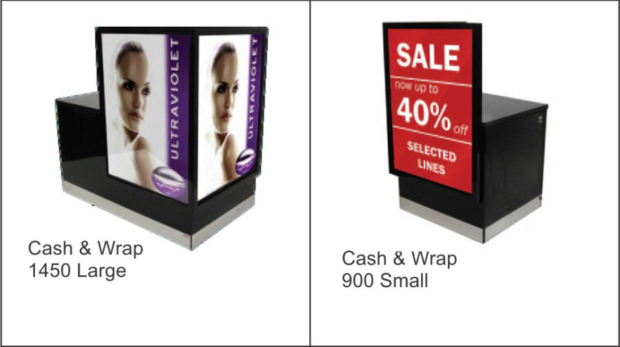 CASH & WRAP 1450 LARGE. 1450 x 900 Black Cash and Wrap counter with gloss black poster area. 32mm flush black top with stainless steel kicker. Storage at rear with padlock facility. Lockable castor wheels to base. CASH & WRAP 900 SMALL. 900 x 900 Black Cash and Wrap counter with gloss black poster area. 32mm flush black top with stainless steel kicker. Storage at rear with padlock facility. Lockable castor wheels to base.