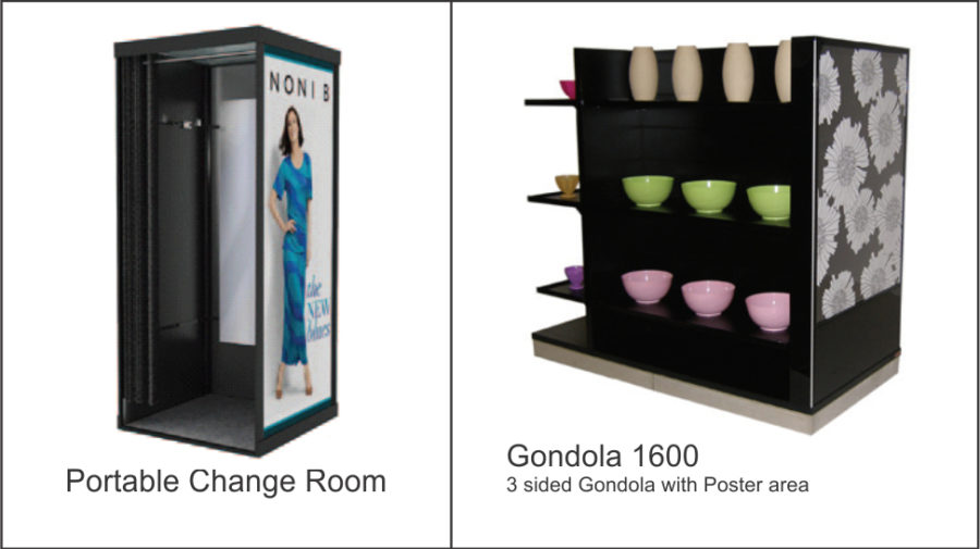 Portable Change Room. 900mmX 900mm X 2100mmH. Powder coated internal steel frame. Vinyl clad MDF panels. Frosted acrylic top. Fabric curtain floor. Internal mirror GONDOLA 1600. Black 3 sided gondola unit with poster area to end. Nine shelves allow stock side hang and fold. Lockable castor wheels to base. Stainless steel kicker.