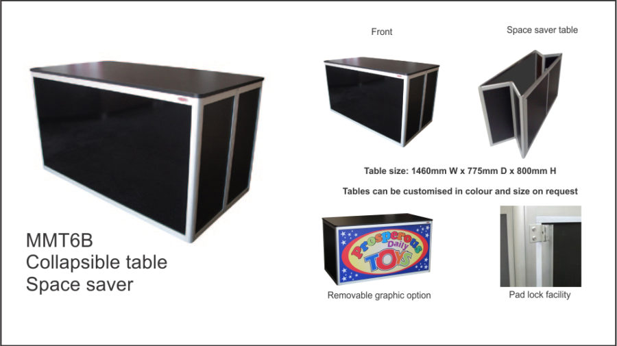 MMT6B – Black (flush top ) Space saver collapsible Table. Pad lock facility.