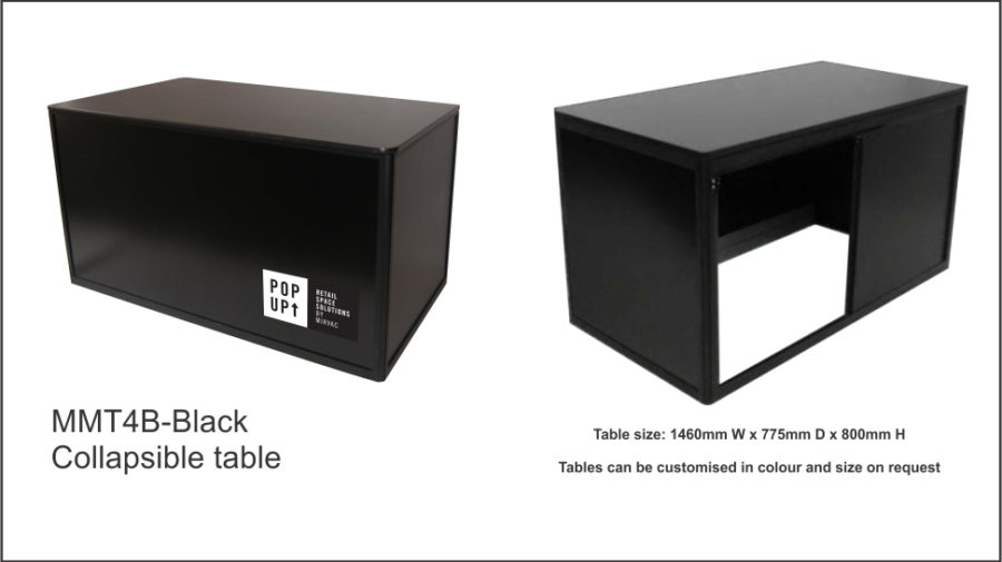 MMT4D – Black (flush top) Folds flat for storage. Sliding doors to rear with facility for padlock. Black colour bond front panel. Flush 18mm black melamine top with ABS edge. Black anodised aluminium frame. Black vinyl covered MDF to sides and doors. Image adheres to front colourbond panel with magnetic tape. Internal aluminium bracing bars