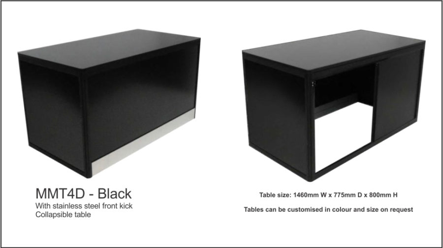 MMT4D – Black (flush top) Folds flat for storage. Sliding doors to rear with facility for padlock. Black colour bond front panel. Flush 18mm black melamine top with ABS edge. Black anodised aluminium frame. Black vinyl covered MDF to sides and doors. Image adheres to front colourbond panel with magnetic tape. 120mm No.8 polished stainless steel kicker to front only. Internal aluminium bracing bars