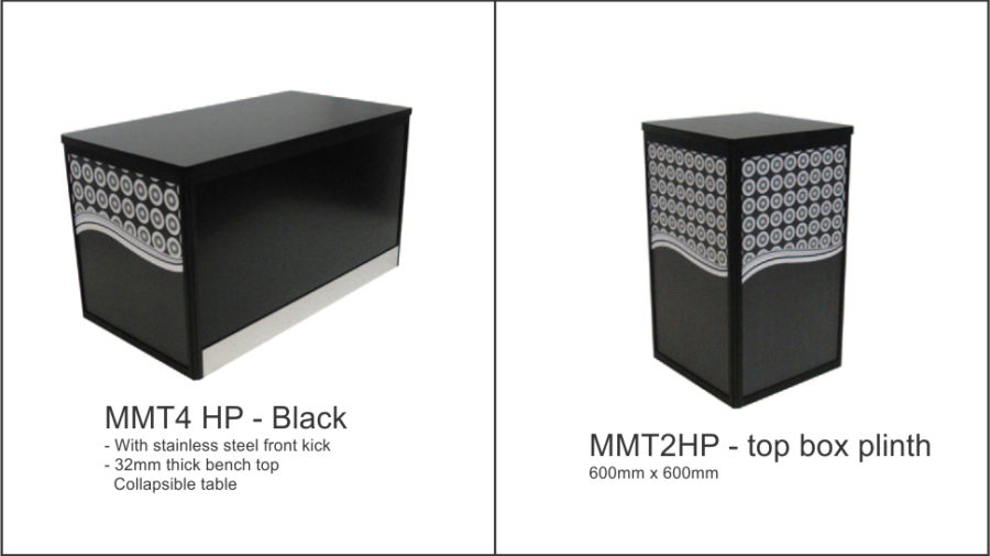 MMT4HP – Black (flush top) with stainless steel front kick and 32mm top. Flush 32mm top box table, black base and. top with black anodised aluminium frame and. stainless steel kicker to front. Custom print to ends from your design. Colorbond front panel for client graphics. Folds flat for storage. Sliding doors to rear with padlock facility. MMT2HP – 600 x 600. Flush 18mm top box plinth, black base and top. with black anodised aluminium frame. Option for graphic panels to all sides. Folds flat for storage.