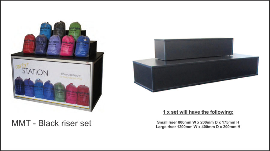 MMT4BRS. 16mm black melamine. Set consists of two units; one large and one small • Large 1200W x 400D x 200mmH. Small 800W x 200D x 175H. Use as a single unit or stack