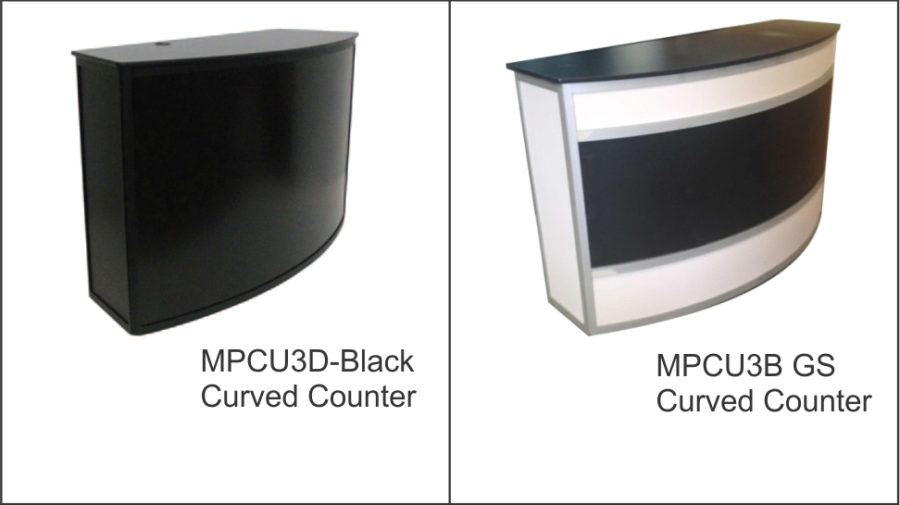 MPCU3D ( all black ) Curved front counter unit (large) in black with black anodised frame. Colorbond front panel for client graphics. Parcel shelf to rear. Cable port. Lockable castor wheels to base. Sliding doors to rear with padlock facility.MPCU3B GS Curved front counter unit (large) clear anodised frame. Slide in acrylic front panel for client graphics. Parcel shelf to rear. Cable port. Lockable castor wheels to base. Sliding doors to rear with padlock facility.