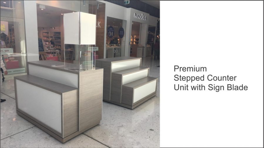 Premium Stepped Counter Unit with Sign Blade
